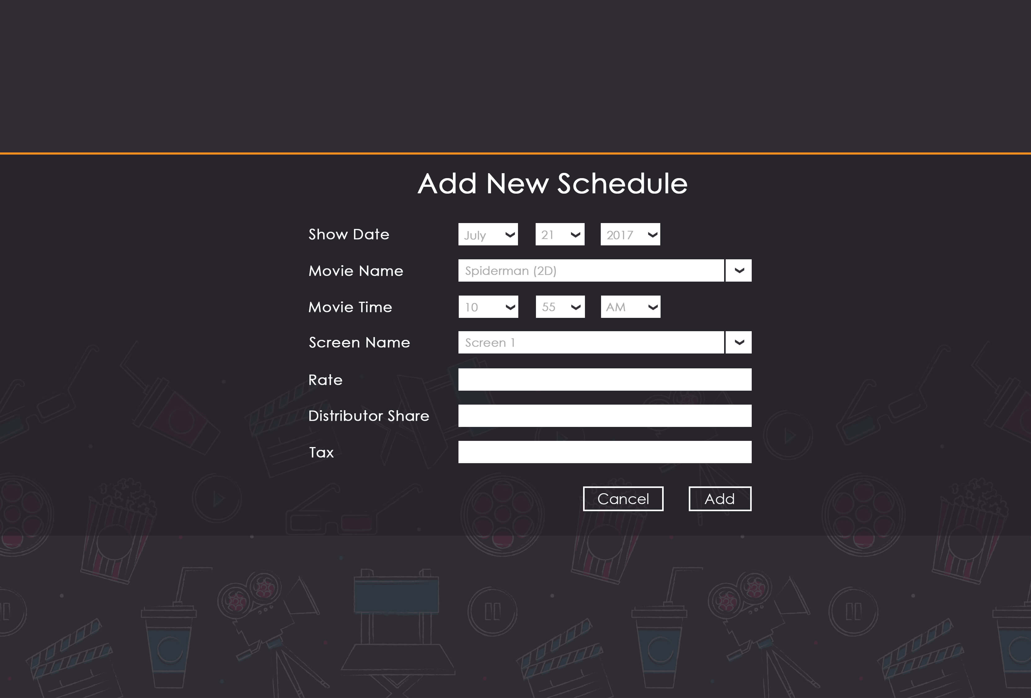 Add-New-Schedule-Screen